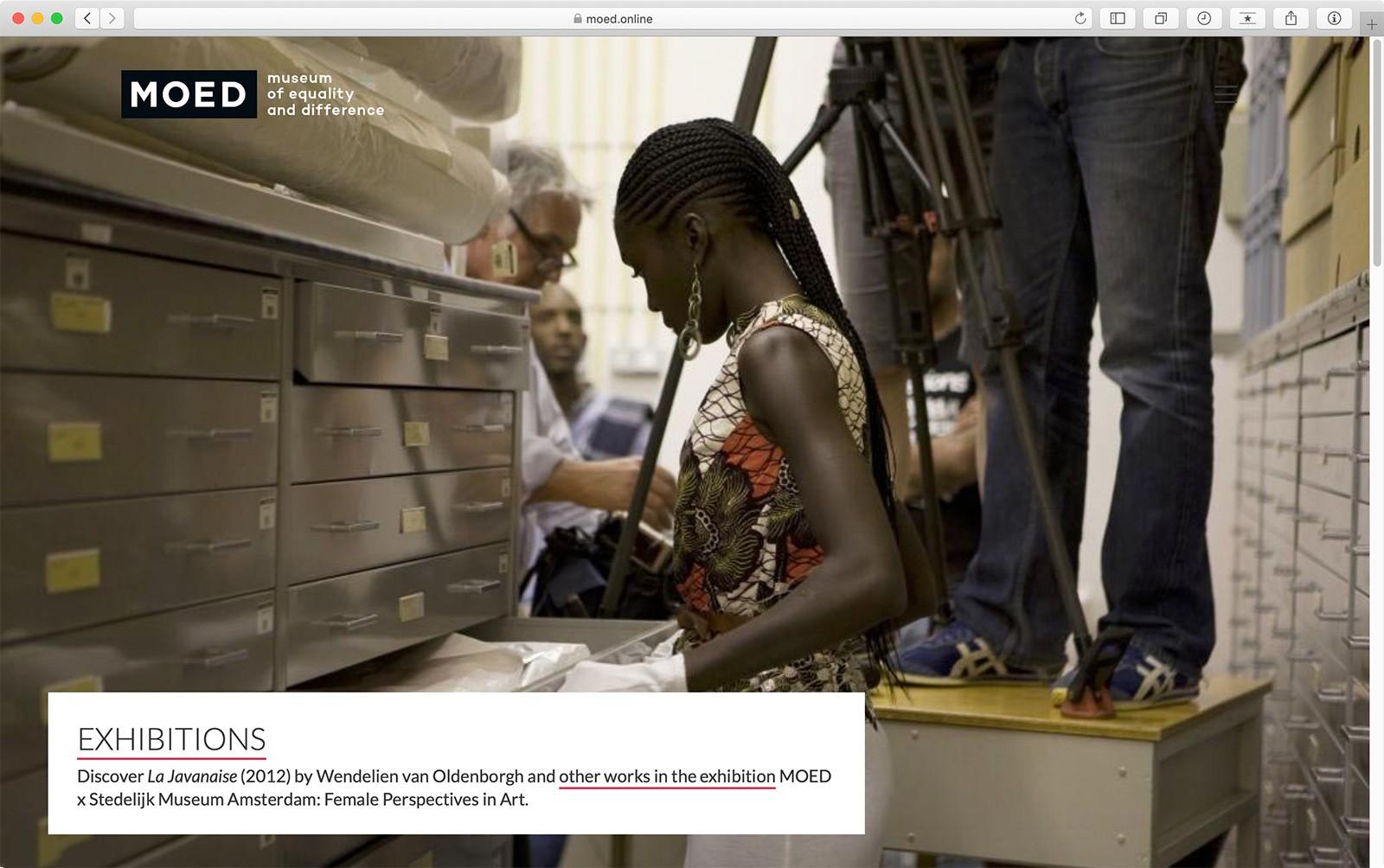 Impressie startpagina website MOED Museum