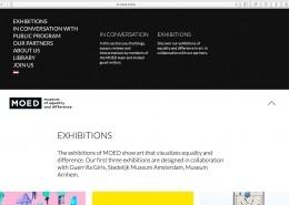 Pagina exposities met uitgeklapt navigatiemenu website MOED Museum