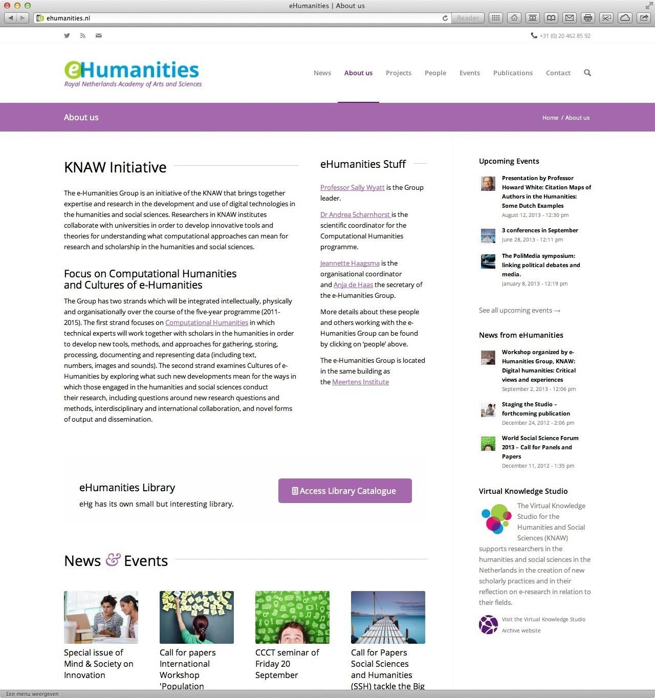 Website voor eHumanities – initiatief van Koninklijke Nederlandse Akademie van Wetenschappen