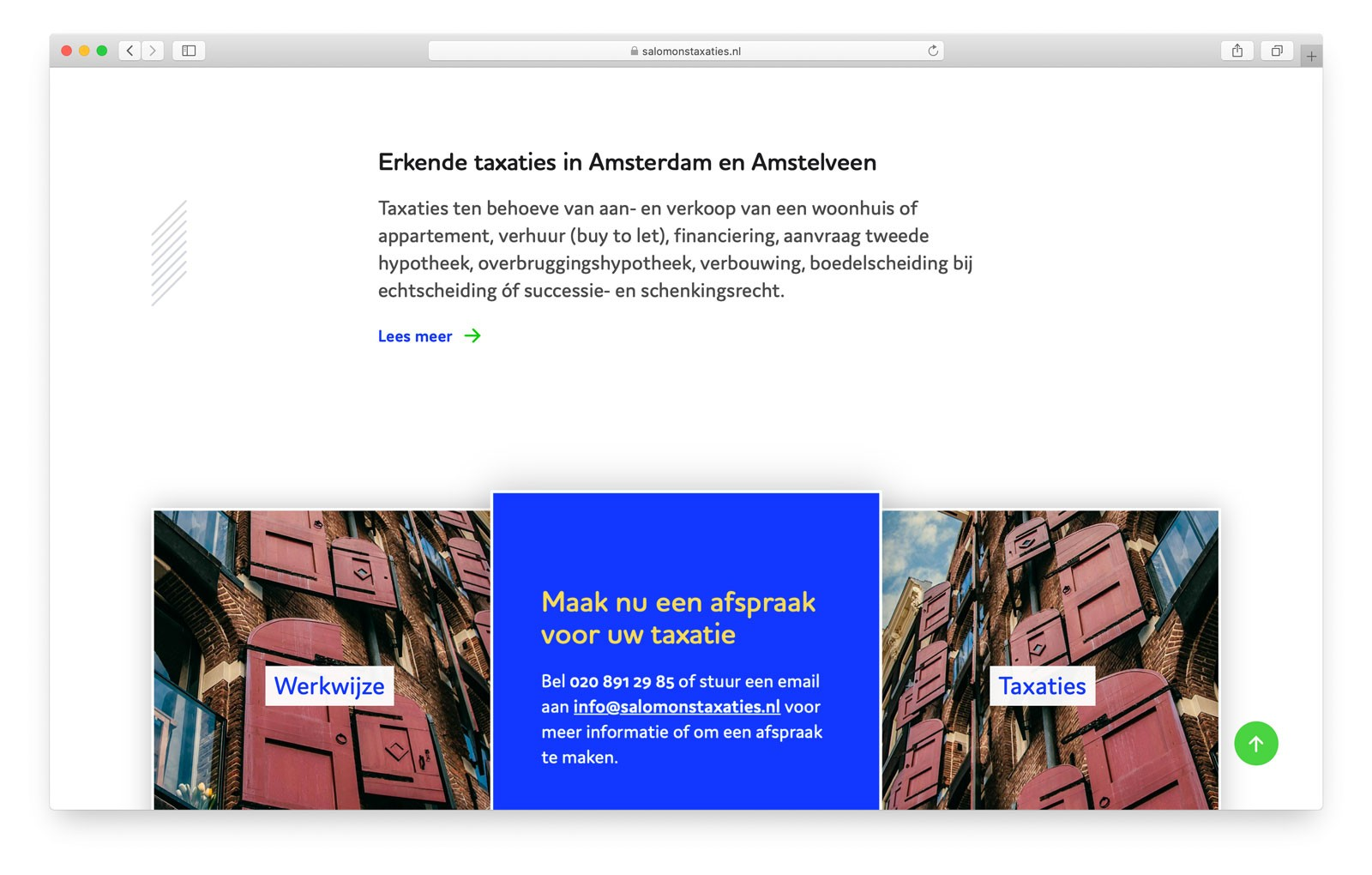 Salomons Taxaties - Impressie Startpagina website