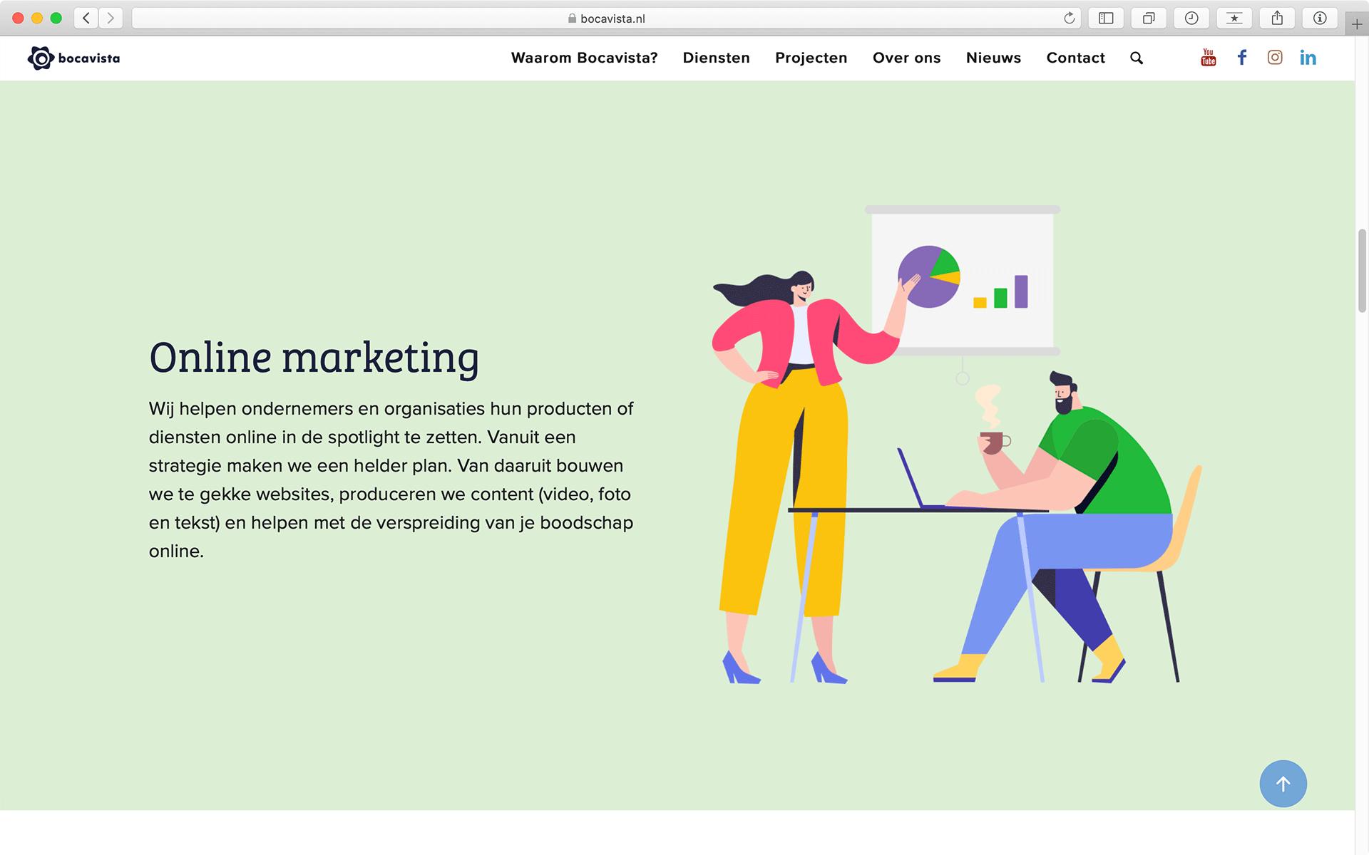 Impressie Diensten pagina website Bocavista