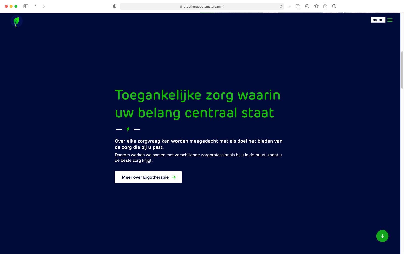 Impressie startpagina website Thuis Vitaal