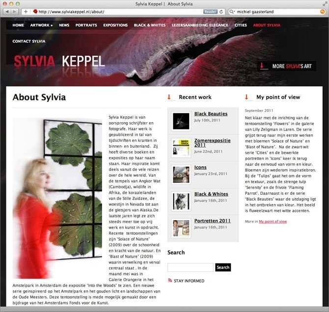 """About"" pagina website Sylvia Keppel"