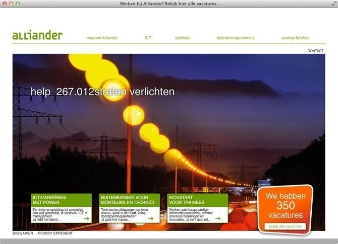 startpagina website Alliander