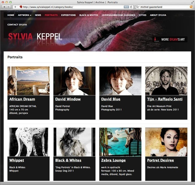"""Gallery"" pagina website Sylvia Keppel"