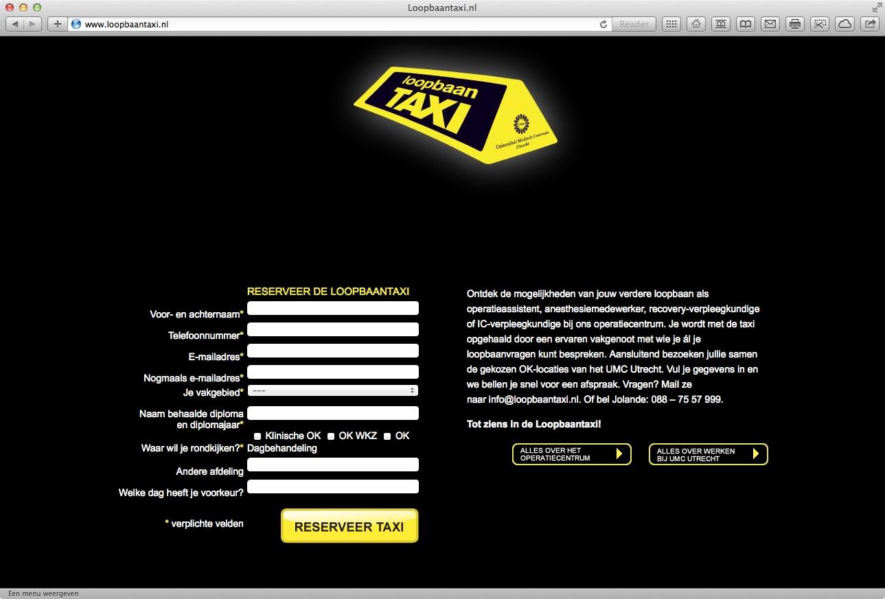 Loopbaantaxi Actiewebsite voor UMC Utrecht