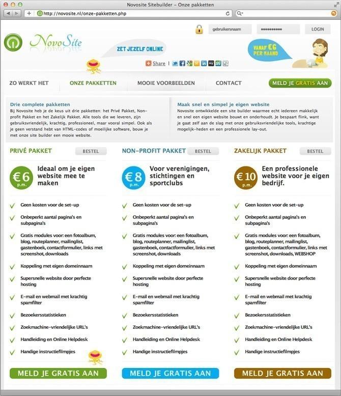 producten pagina Novosite website