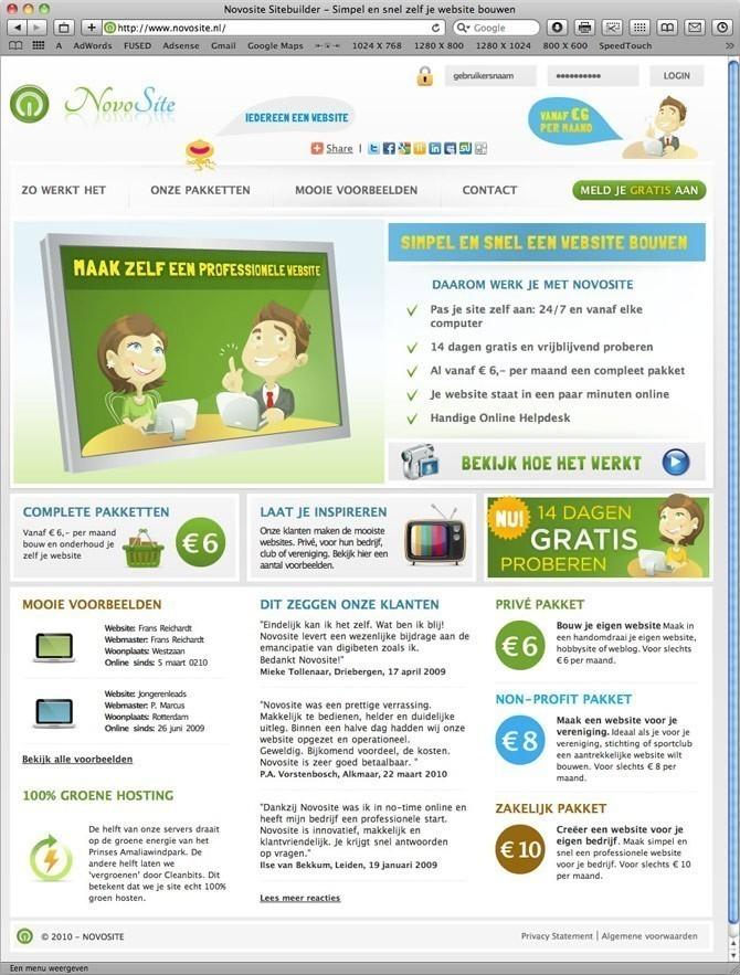 startpagina Novosite website