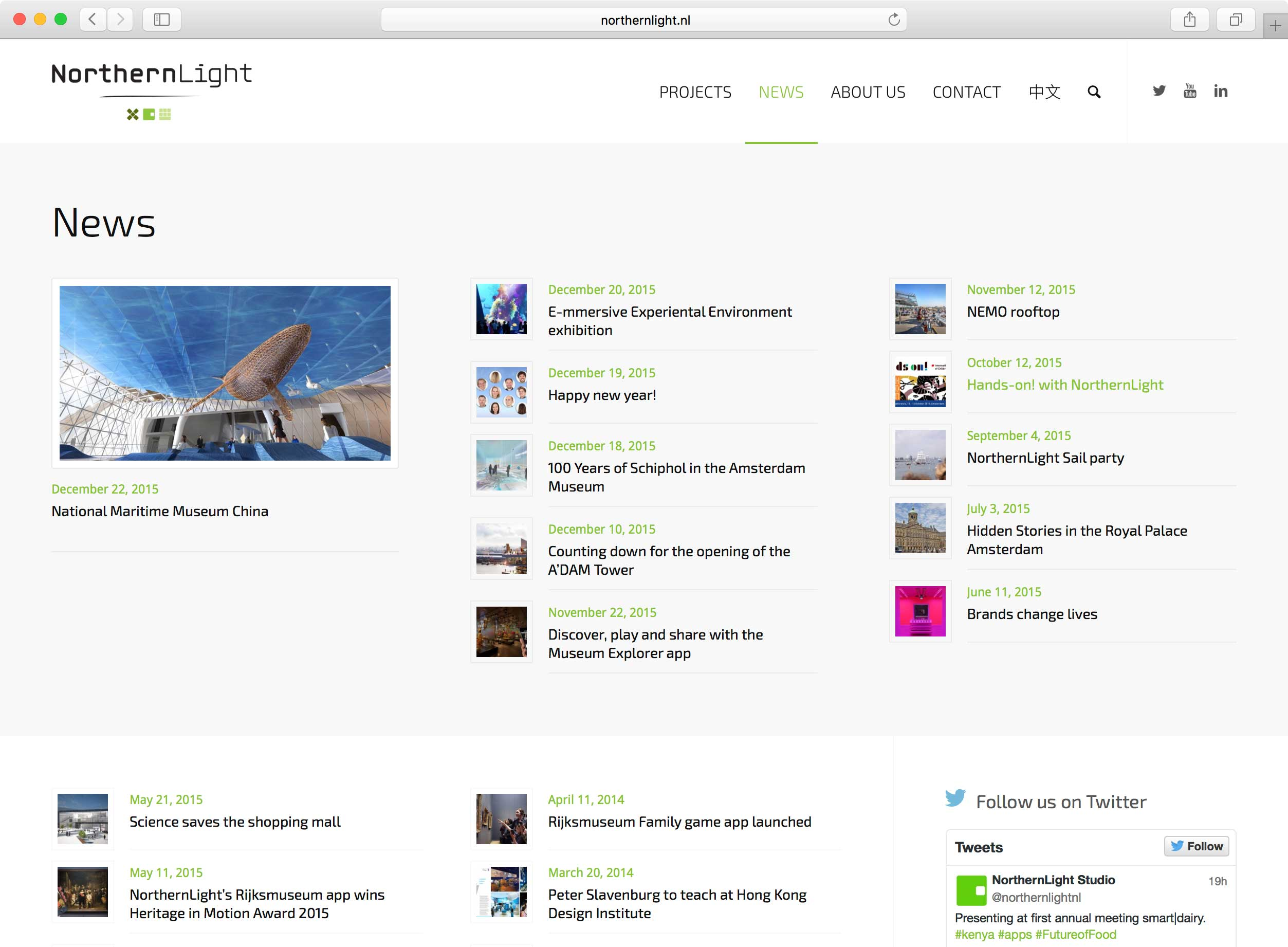 Nieuwspagina NorthernLight website
