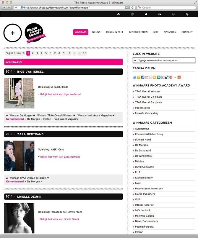 pagina winnaars Photo Academy Award website