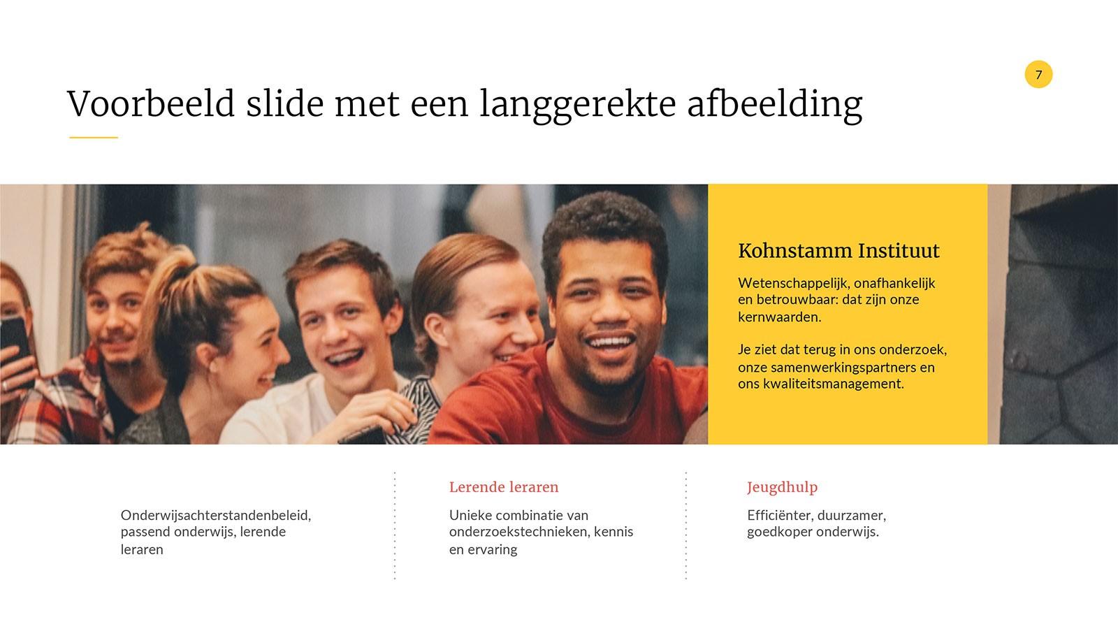 Voorbeeld PowerPoint Presentatie Kohnstamm Instituut - Pagina met tekst en beeld