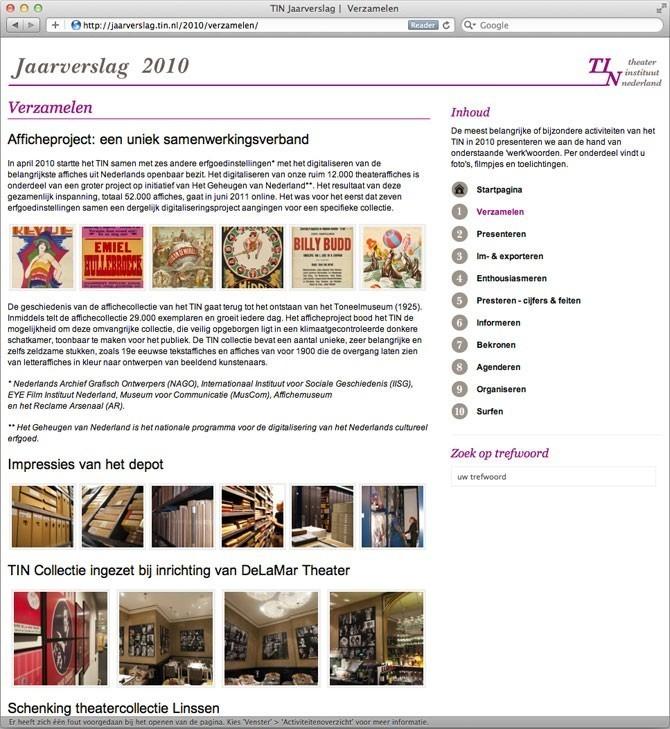 TIN Jaarverslag 2010 - verslag over verzamelingen van TIN