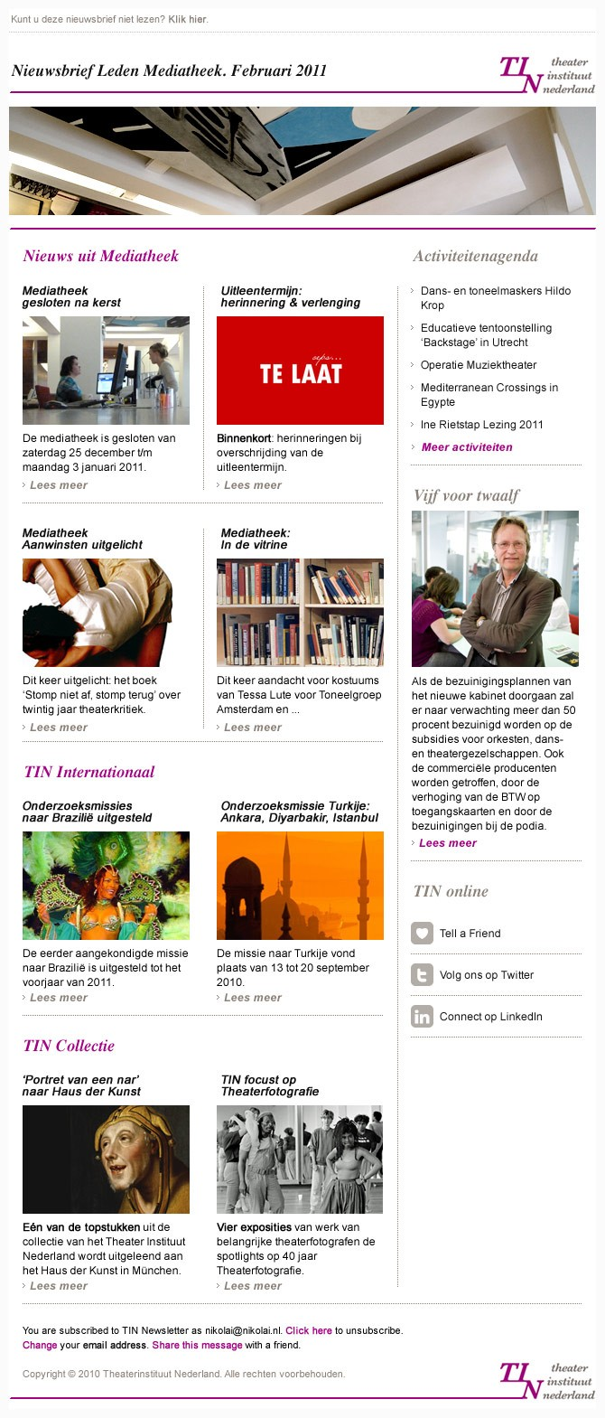 TIN Nieuwsbrief Leden Mediatheek