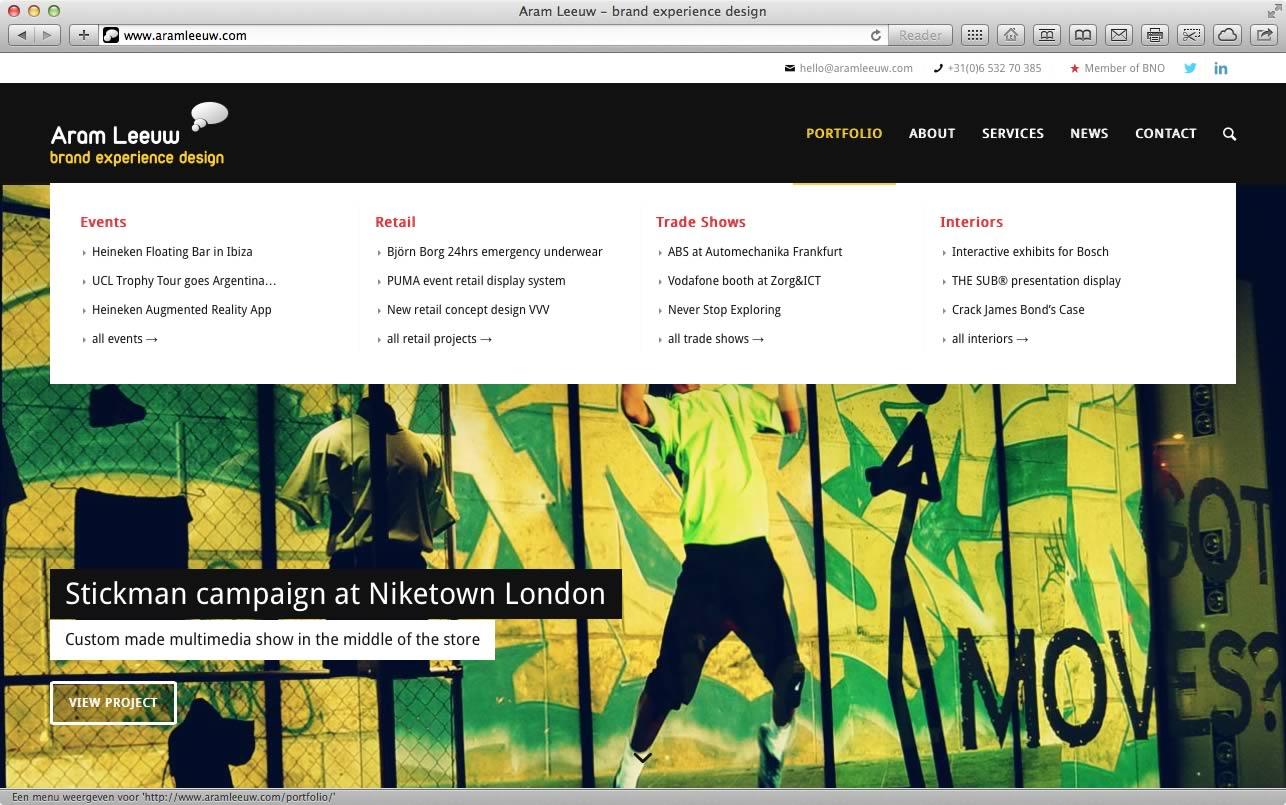 Website Aram Leeuw Brand Experience Design 02