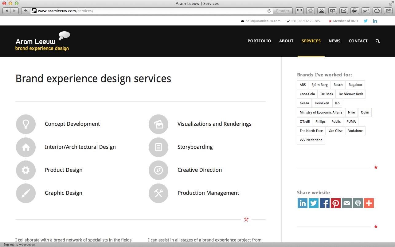 Website Aram Leeuw Brand Experience Design 07