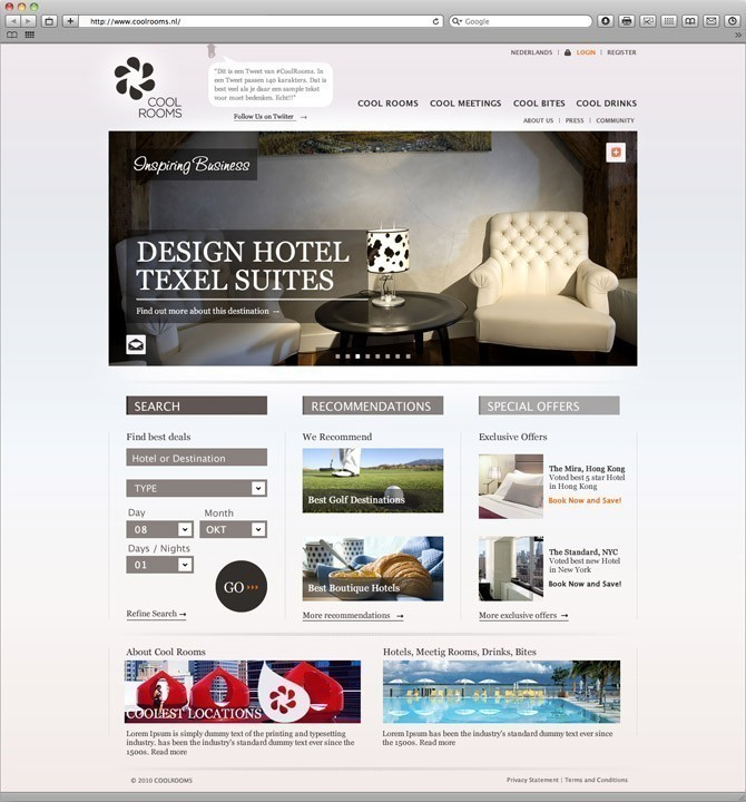 startpagina website Cool Rooms