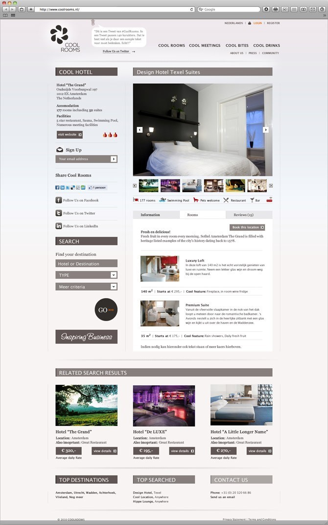 hotel pagina website Cool Rooms