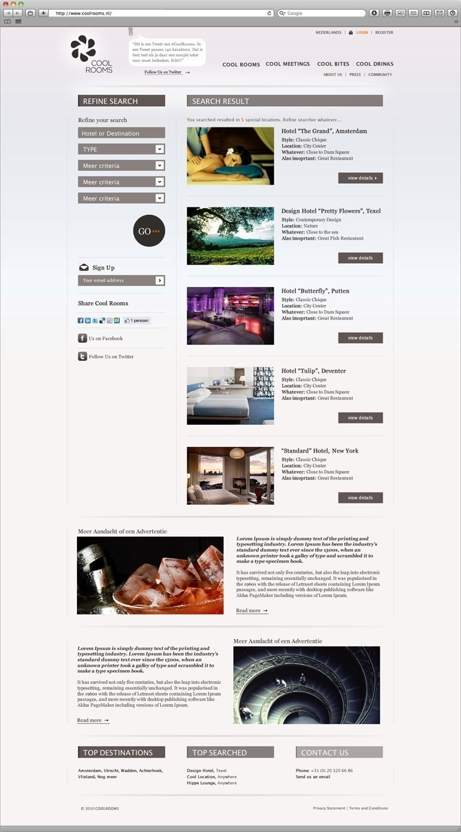 overzicht hotels website Cool Rooms