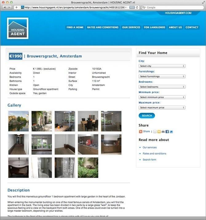 Website Housing Agent Nederland woning pagina