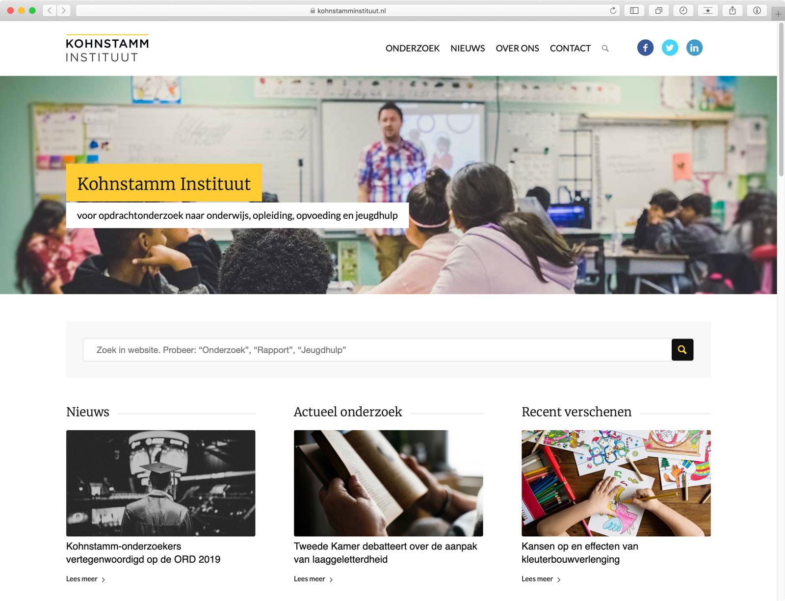 Website Kohnstamm Instituut - Startpagina