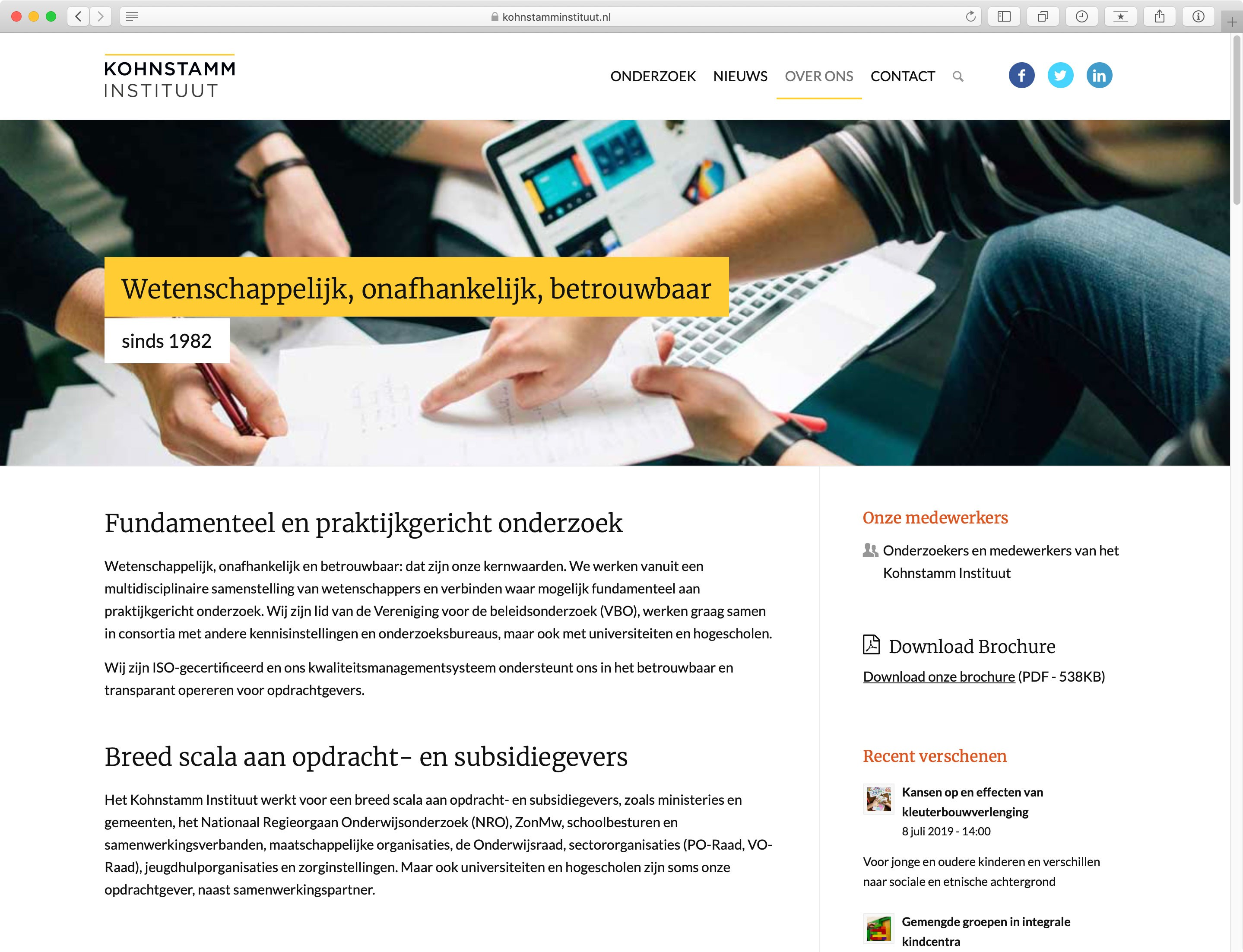 Website Kohnstamm Instituut - Pagina Over Ons
