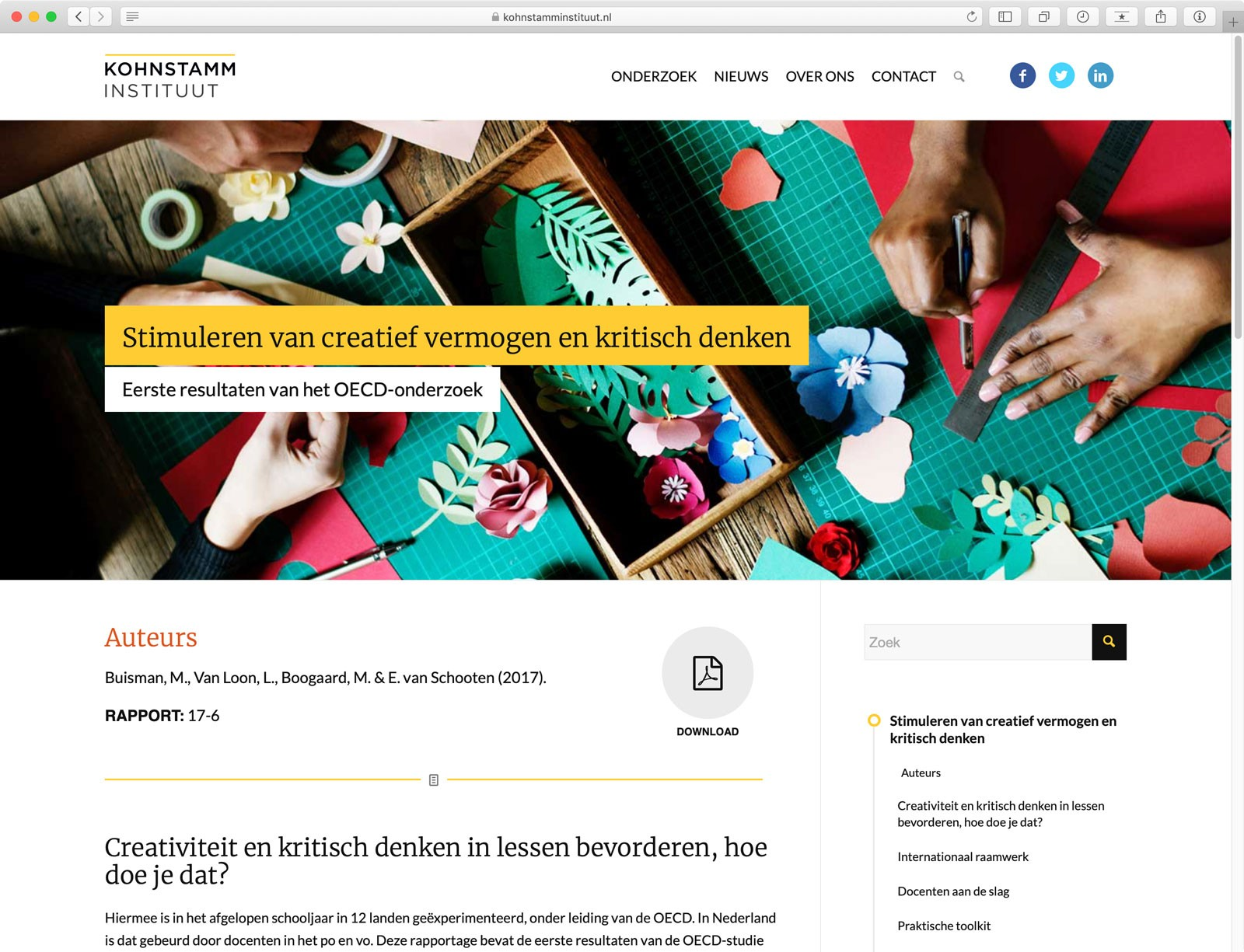 Website Kohnstamm Instituut - Pagina Onderzoek