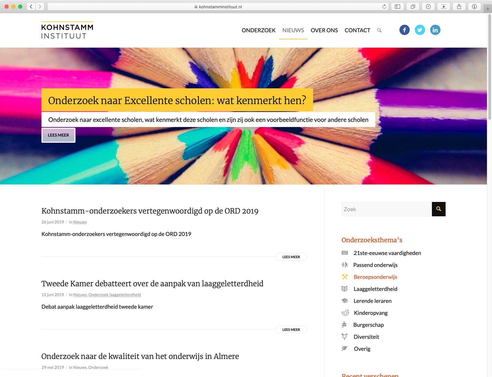 Website Kohnstamm Instituut - Pagina Nieuws