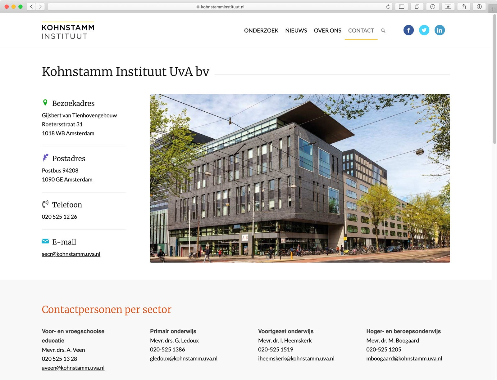 Website Kohnstamm Instituut - Pagina Contact