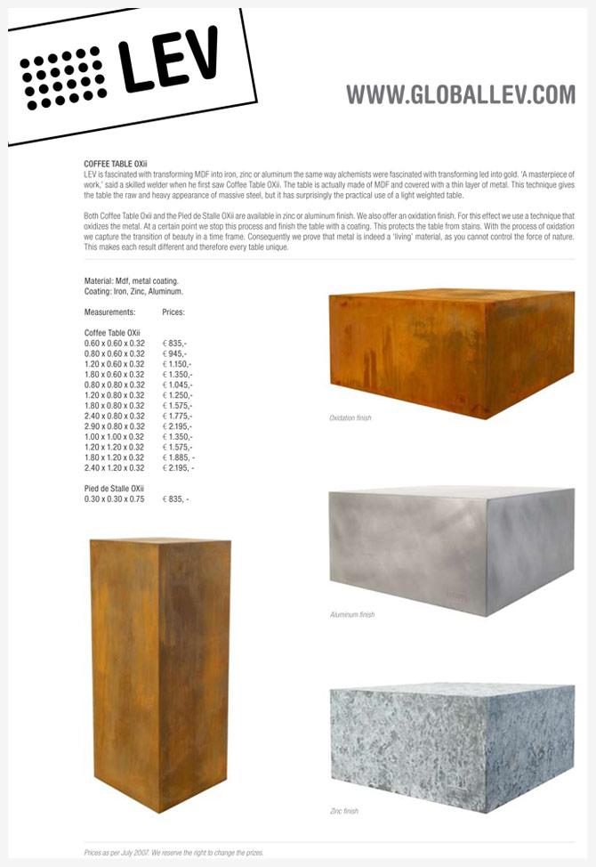 LEV product sheet tafels