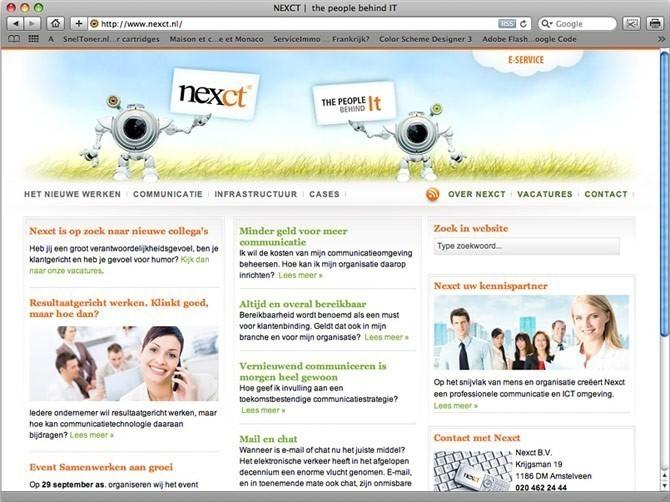 startpagina website NEXCT